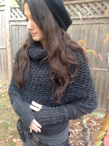 Knit slouchy hat, crochet caplet, wresters by Donna Cerame.